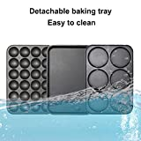 Health and Home Multifunction Nonstick Baking Maker with 3 Interchangeable Baking Plates for Fried Eggs, Fried Steak, Takoyaki, Cake Pops, Grill Maker