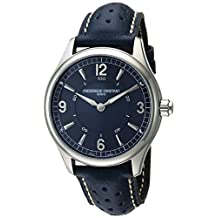Frederique Constant Men's 'Horological Smart' Swiss Quartz Stainless Steel and Leather Casual Watch, Color:Blue (Model: FC-282AN5B6)