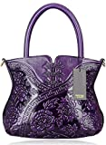 PIJUSHI Designer Flower Handbag Womens Top Handle Shoulder Satchel Bag Holiday Gift ( 22331 Purple)