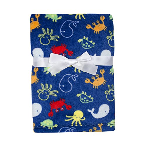 Baby Gear Plush Velboa Ultra Soft Baby Boys Blanket 30 x 40, Sea Creatures ()