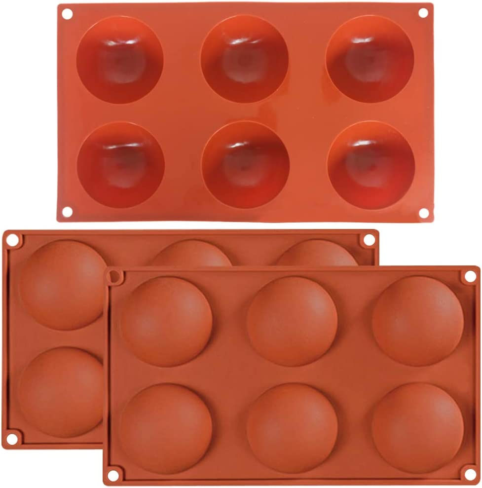 3 Pack 6 Holes Large Hemisphere Dome Silicone Mold, DaKuan 6 Cavities,Half Sphere Silicone Tray (Orange) for Chocolate, Cake, Jelly, Pudding, Handmade Soap