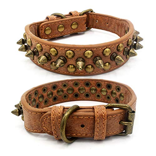 (Pathside Rivet Anti-bite Dog Collar Adjustable Buckle Layer Leather Solid Color Dog Collar Bronze Domineering Spikes bite pet Dog Collar Retro Dog Chain Rivet Dog Necklace (S, Brown) )