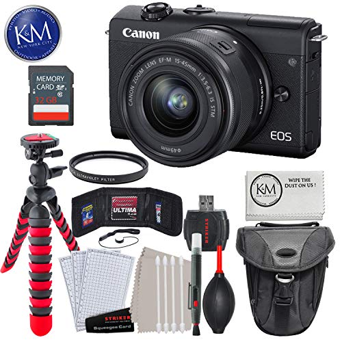 """Canon EOS M200 Mirrorless Digital Camera with 15-45mm Lens (Black) with 32GB & Essential Bundle: Includes - Holster Bag, 12"""" Tripod, and Striker Starter Kit."""