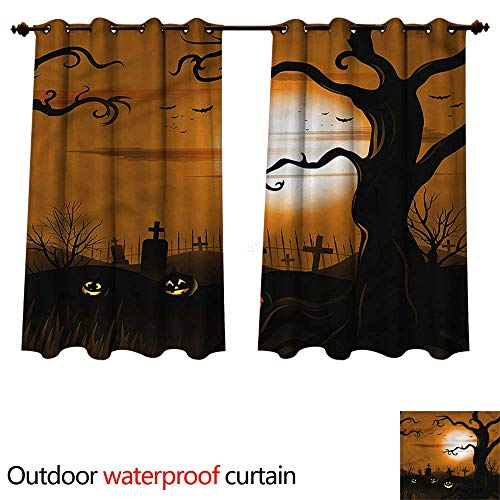 cobeDecor Halloween Outdoor Ultraviolet Protective Curtains Scary Cemetery W63 x L63(160cm x 160cm)