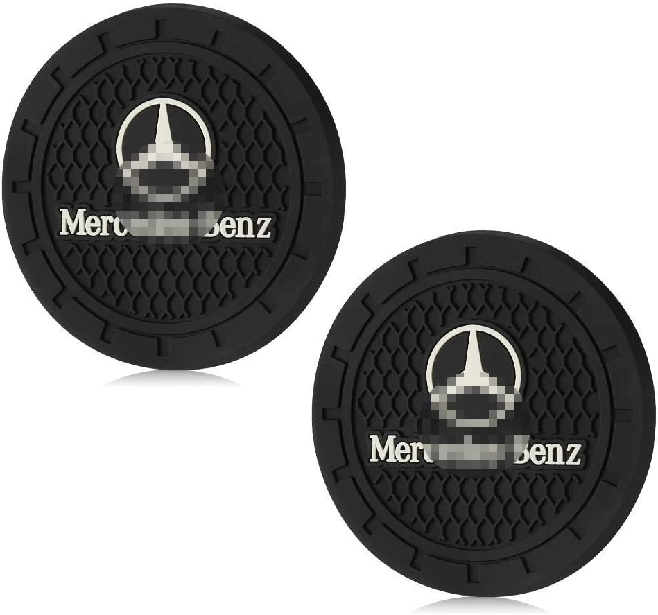 Blue, 2 PCS Shenwinfy 2.75 Inch Car Interior Accessories Anti Slip Mat for Mercedes Benz Cup Holder Coaster Auto Interior Decoration Pad