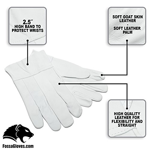 Fossa Heavy Duty Band Top Goatskin Leather Work Gloves for Men and Women. General Purpose Utility, Driver, Rigger, Safety, and Gardening Gloves, Medium (Gloves Purpose Welding)