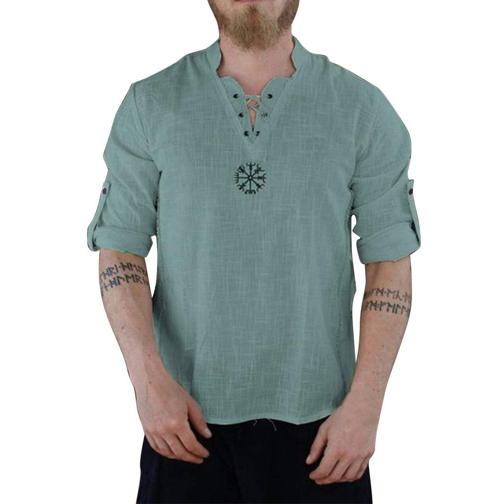 Cotton Linen Tops for Men Summer Fashionable Personality Pure Long Sleeve Casual Slim fit Blouse Top Blue