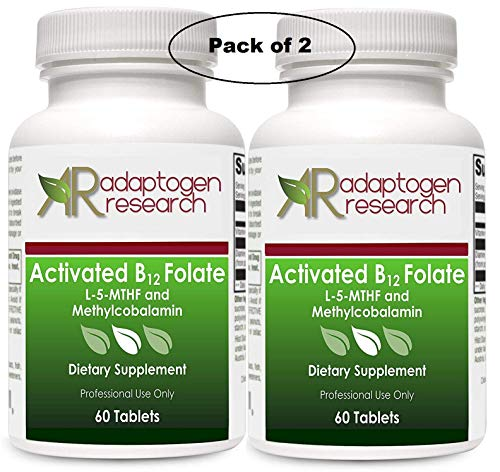 2 Bottles of Activated B12 Folate 60 Tablets High Potency L-5-MTHF and Methylcobalamin by Adaptogen Research Pharmaceutical Grade