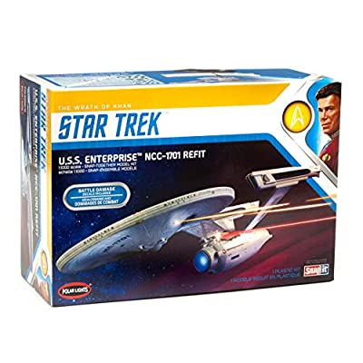Polar Lights Star Trek U.S.S. Enterprise Refit Wrath of Khan Edition 2T 1/1000 Scale Snap Together Space Ship Model Kit TV Show Replica (NO Glue Required): Toys & Games