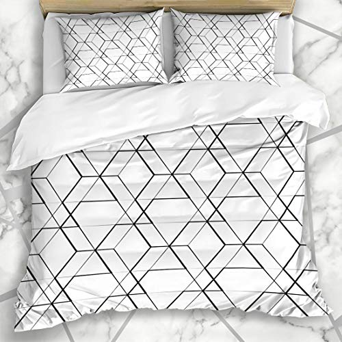 Ahawoso Duvet Cover Sets Queen/Full 90x90 Misc Black Grid Mesh Geometric Seamlessly Repeatable Pattern Back Abstract Geo White Seamles Graphic Microfiber Bedding with 2 Pillow Shams