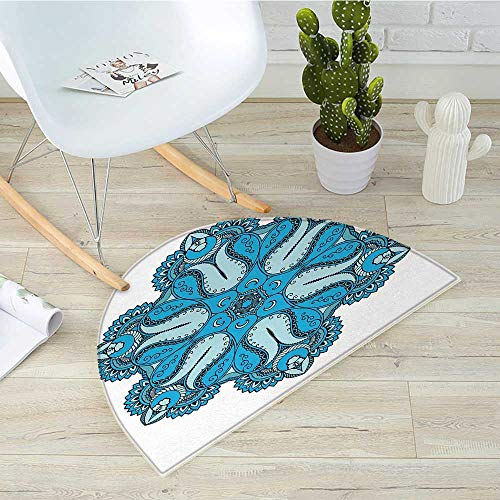 Mandala Half Round Door mats Old Aged Mehndi Artisan Occult Power Symbol with Tulip Petal and Crescent Moons Design Bathroom Mat H 27.5