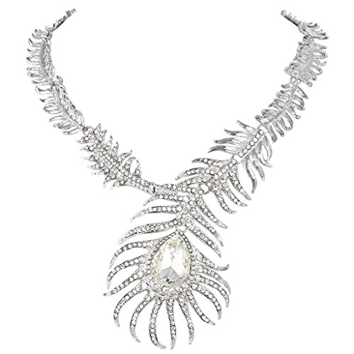 EVER FAITH Austrian Crystal Peacock Feather Teardrop Statement Necklace Clear