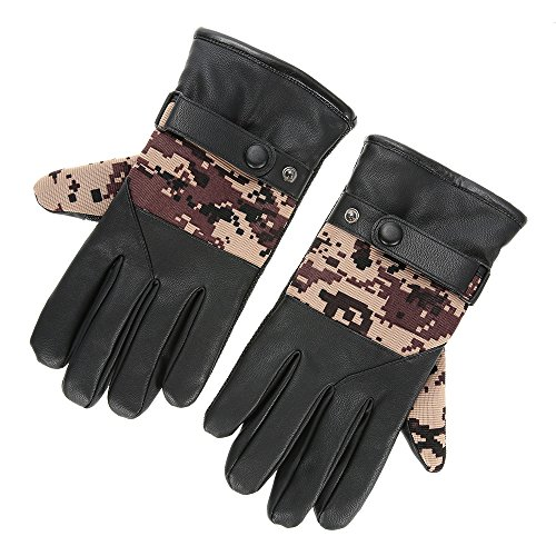 PU Gloves Mittens Winter Warm Outdoor Skiing Gloves Anti-slip Thick Warmer Man Bike Bicycle Touch Screen Gloves - - Heads Best Oakleys For Big