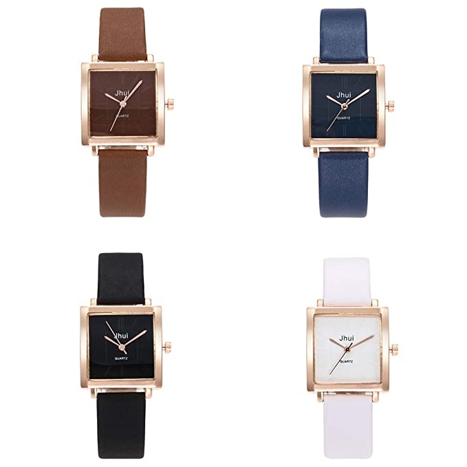 Amazon.com: Womens Girls Fashion Watch Leather Strap Analog Quartz Glass Mirror Watches (Dark Blue): Cell Phones & Accessories