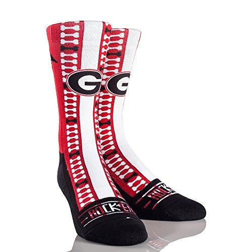 NCAA Georgia Bulldogs Helmet Series University Custom Athletic Crew Socks, Large/X-Large, White/Black ()