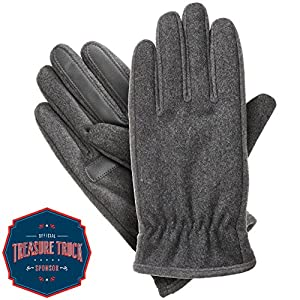 Isotoner Men's Isotoner Men's Wool-blend Gloves With Gathered Wrist, Oxford Heather, LG
