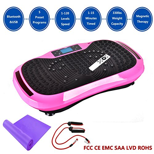 Reliancer Built-in Music Player Fitness Vibration Platform Whole Full Body Shaped Crazy Fit Plate Massage Workout Trainer Exercise Machine Plate w/Integrated USB Port&LED Light (W/Music-Pink) by Reliancer (Image #8)