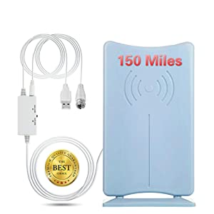 150 Miles TV Antenna, HDTV Antenna [2020 Upgraded Version] HD Digital TV Antennas Indoor Amplified Signal Booster for 4K 1080P Freeview Local Channels Long 16.5ft Coaxial Cable Local Channels