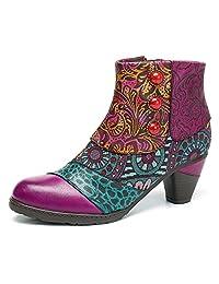 Socofy Block Heel Ankle Booties,Women's Bohemian Splicing Pattern Side Zipper High Block Heel Ankle Leather Boots