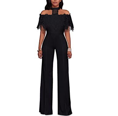 ef363c364cf Misschicy Womens Sexy Off Shoulder Halter Lace Wide Leg Pants High Waist  Jumpsuits Rompers Casual Playsuit  Amazon.co.uk  Clothing