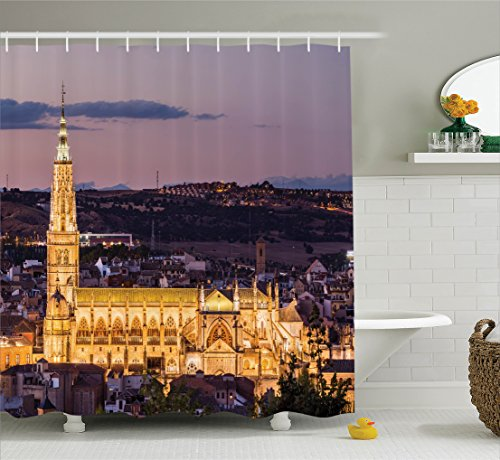 Ambesonne Wanderlust Decor Collection, Dusk as the Flood Lights are Illuminated on Cathedral in Ancient City Of Toledo Spain Print, Polyester Fabric Bathroom Shower Curtain, 84 Inches Extra Long, Gold by Ambesonne