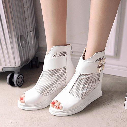 Carolbar Womens Zip Multi Buckle Peep Toe Voile Mesh Fashion Wedge Heel Summer Dress Boots White Eiapg4b
