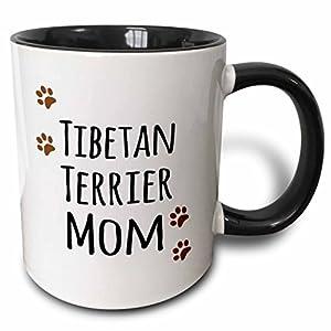 3dRose (mug_154207_4) Tibetan Terrier Dog Mom - Doggie by breed - muddy brown paw prints - doggy lover - pet owner mama - Two Tone Black Mug, 11oz 29