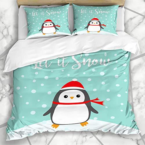 Ahawoso Duvet Cover Sets King 90x104 It Blue Antarctic Let Snow Kawaii Penguin Bird Polar On Wildlife Red Antarctica Arctic Baby Design Microfiber Bedding with 2 Pillow Shams ()