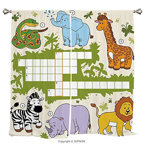 Rod Pocket Curtain Panel Thermal Insulated Blackout Curtains for Bedroom Living Room Dorm Kitchen Cafe/2 Curtain Panels/120 x 66 Inch/Word Search Puzzle,Colorful Crossword Game for Children Wild Jungl ()