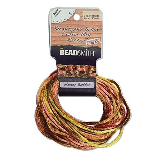 Beadsmith XCR-3041 Honey Butter Mix 4 Color Satin Rattail Cord, 3 yd/2mm ()