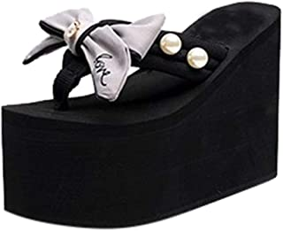 Women's Strap Wedges Sandals,CSSD Ladies's Cross Strap Wedges Sandal Thick High-Heeled Bow Decoration Shoes