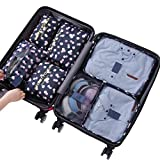 Sackorange 7 Set Travel Storage Bags Packing cubes Multi-functional Clothing Sorting Packages,Travel Packing Pouches,Luggage Organizer (Blue and white)