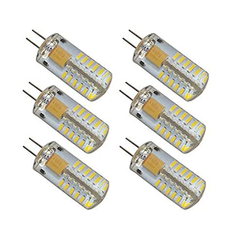 LJY 6-Pack G4 48-LED Daylight Neutral White Light 4000K LED Crystal Bulb Lamps 3 Watt AC DC 12V Non-dimmable Equivalent to 20W Incandescent Replacement LED Bulbs