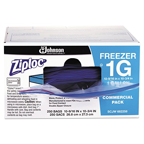 Ziploc 94604 Double-Zipper Freezer Bags, 1gal, 2.7mil, Clear w/Label Panel (Case of 250)