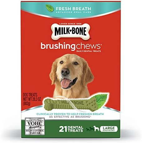 Milk-Bone Fresh Breath Brushing Chews Daily Dental Dog Treats, Reduce Tartar Build Up, Maintain Healthy Gums
