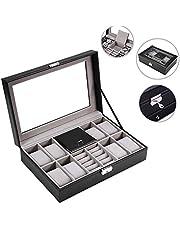 Brrnoo Multi-Functional 8 Slots + 2 Grids Watch Display Case Joyero Caja de Almacenamiento Organizador(Negro)