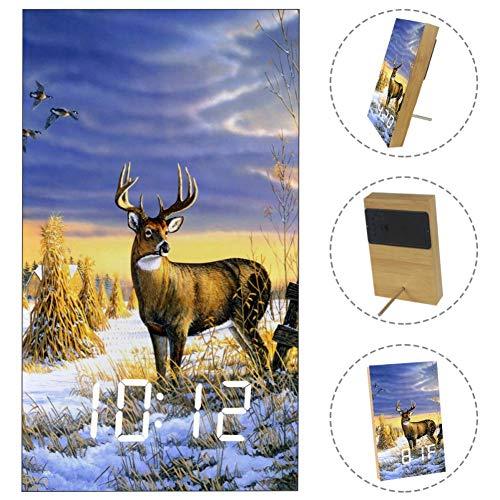 - Winter Elk Deer Digital Alarm Clock Display Time Temperature Date LED Decorative Clock