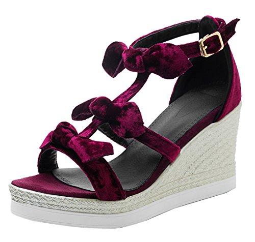AIYOUMEI Damen Wildleder T-spangen Knöchelriemchen Keilabsatz Sandalen mit Schleife Süß Sommer Schuhe Weinrot