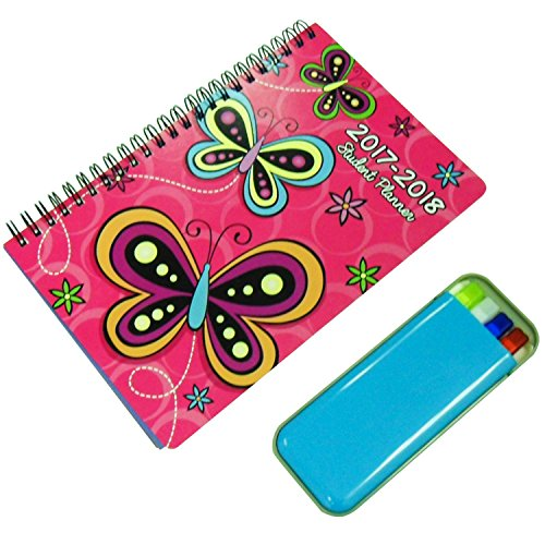 Best Selling Butterfly & Highlighter One Year Daily Weekly Personal Planner Journal Office Academic Student Agenda Monthly Format Spiral 2017 to 2018 Set Women Teen Girl Back High School Supplies - American Girl Doll 2018