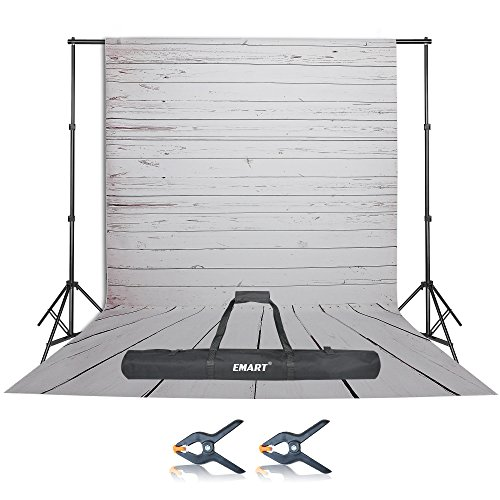 Emart Photo Video Studio 10Ft Adjustable Backdrop Champion Support System Kit and White Wood Floor Silk Background Screen with Carry Bag