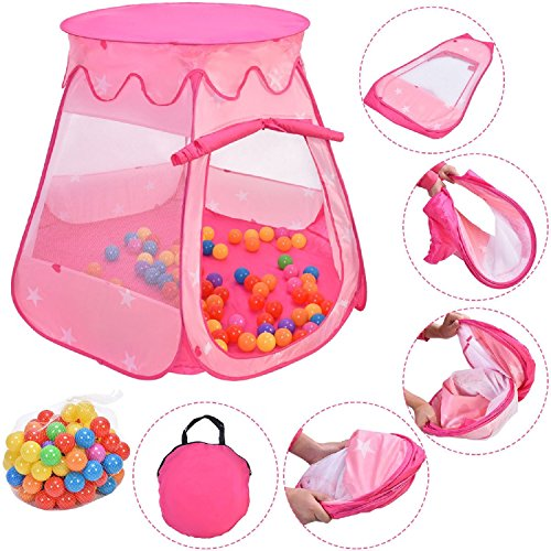 COSTWAY Pink Portable Kid Play House Play Tent with 100 Balls by SpiritOne by COSTWAY