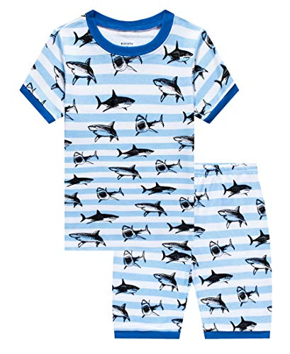 Shark Little Boys Short Sleeve Pajamas 100% Cotton Stripe Sleepwear Size 5