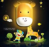Samgo 3d Adorable Animal Wallpaper Novelty Cartoon Wall Stickers Lamp for Kids' Bedroom Room Decoration LED Night Light DIY (Giraffe)