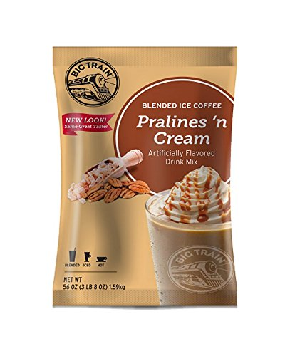 Big Train Blended Ice Coffee, Pralines 'n Cream, 3.5 Pound, Powdered Instant Coffee Drink Mix, Serve Hot or Cold, Makes Blended Frappe Drinks