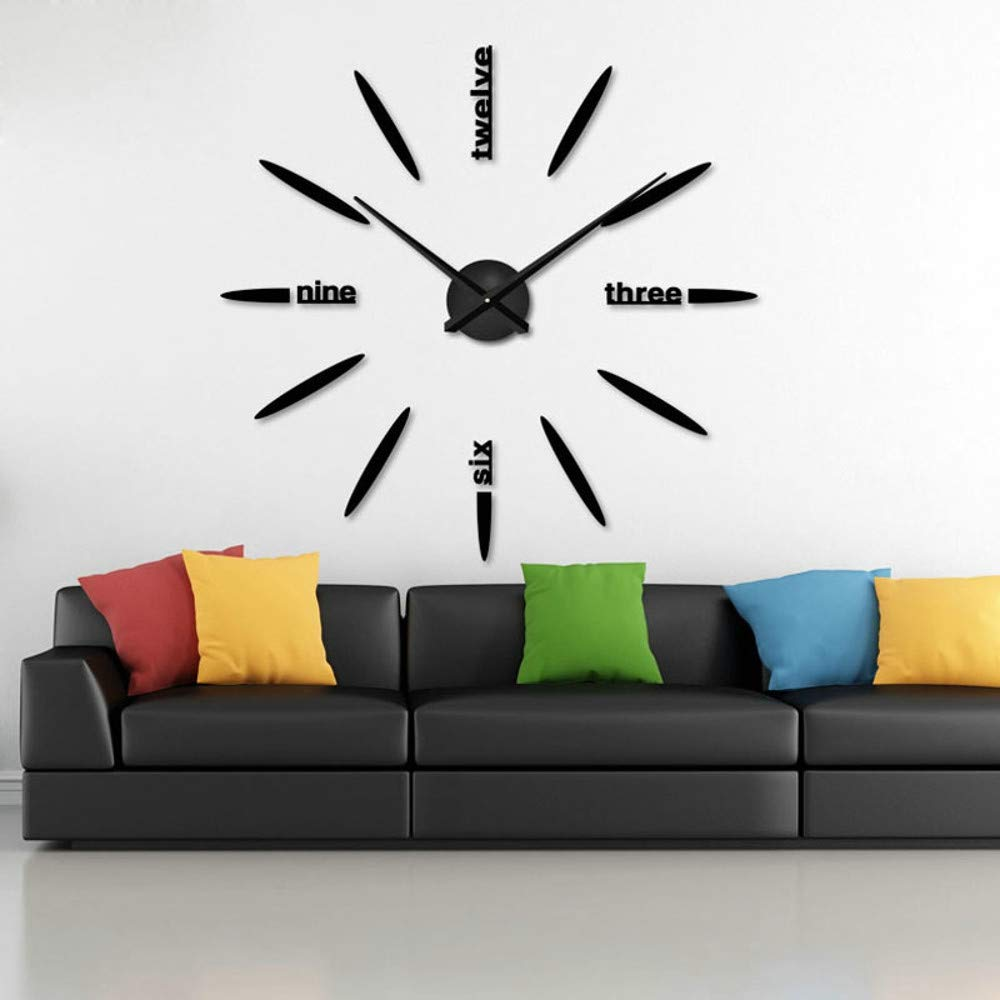 TAOtTAO Modern Large 3D DIY Mirror Surface Art Wall Clock Sticker Home Office Room Decor (Red 50~100cm)
