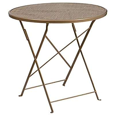 "Flash Furniture 30'' Round Gold Indoor-Outdoor Steel Folding Patio Table - Folding Patio Table Top Size: 30"" Round Base Size: 17.75""W x 15.5""L - patio-tables, patio-furniture, patio - 510Eo0Qm9TL. SS400  -"