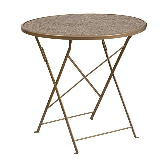 """Flash Furniture CO-4-GD-GG Metal 30RD Gold Folding Patio Table, - Folding Patio Table Top Size: 30"""" Round Base Size: 17.75""""W x 15.5""""L - patio-tables, patio-furniture, patio - 510Eo0Qm9TL. SS570  -"""