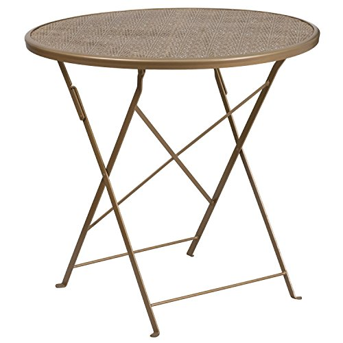 Flash Furniture 30'' Round Gold Indoor-Outdoor Steel Folding Patio Table by Flash Furniture
