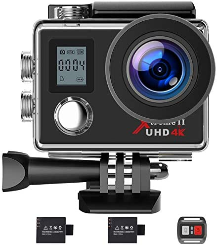 Campark Action Camera 4K WiFi Ultra HD Sports Cam Underwater Waterproof 30M 170 Wide-Angle Lens with Remote Control 2 Recharge Batteries and Mounting Accessories Kit