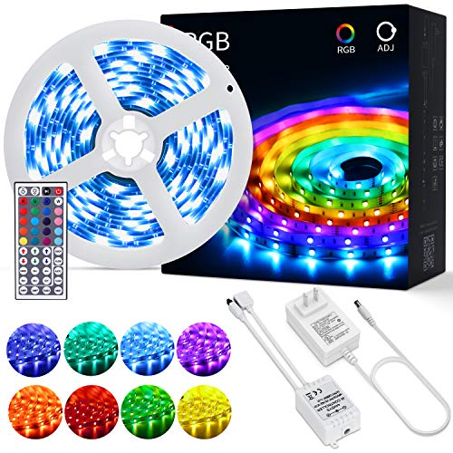 OUSFOT Led Strip Lights 16.4 Feet with 44-Keys Remote Control 5050 SMD Timing 6 Modes Color Changing RGB led Lights for Bedroom Tv Backlight Kitchen Bar Home Decoration